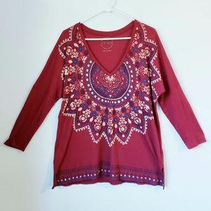 Lucky Brand long sleeve V- neck t-shirt size L